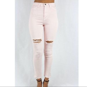 GJG Denim Jeans - Thigh Slit High Waist Jeans
